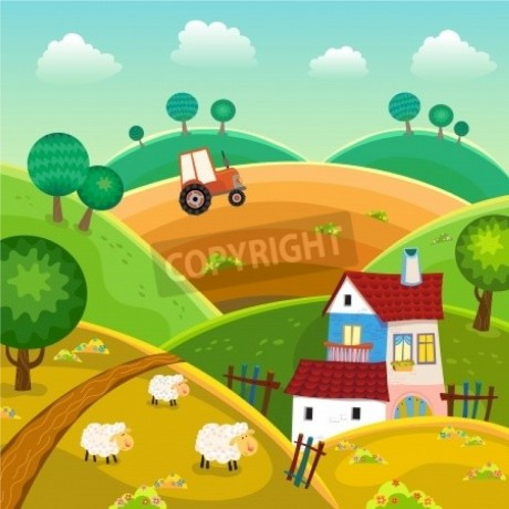Rural Landscape with House, Sheep and Tractor